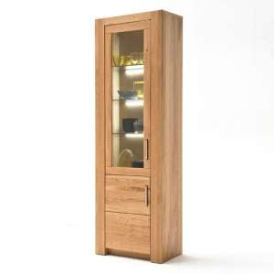 Loano LED Wooden Small Display Cabinet In Wild Oak With 2 Doors