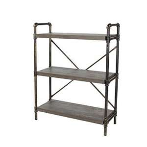 Loft Home 3 Tier Bookcase In Dark Oak With Pipe Design Uprights