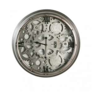 Loft Metal Black Dial Wall Clock In Anthracite And Silver