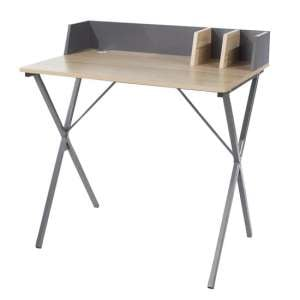 Loft Study Desk In Oak With Cross Grey Metal Legs