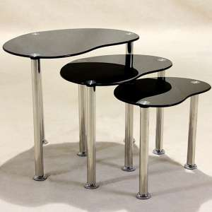 Logan Black Glass Nest Of Tables With Stainless Steel Legs