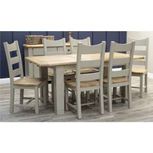 Logan Extending Wooden Dining Set In Taupe With 6 Chairs