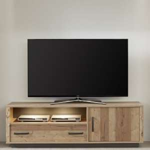 Logan Wooden TV Stand In Bramberg Spruce With LED Lighting