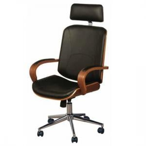 Loire Office Chair In Black Faux Leather With Walnut Frame