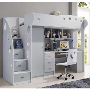 Lolo Wooden Raised Bunk Bed In White And Grey