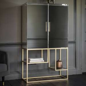 Lombok Mirrored Bar Cabinet In Champagne Finish With 2 Doors