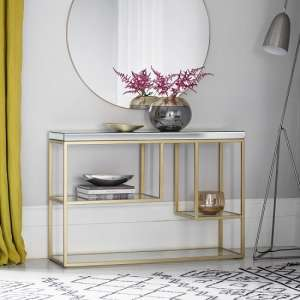 Lombok Mirrored Rectangular Console Table With Champagne Frame