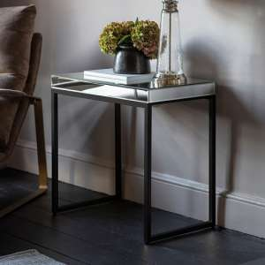 Lombok Mirrored Side Table With Matt Black Metal Frame