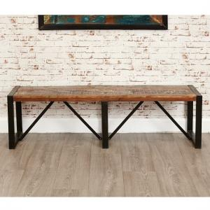 London Urban Chic Wooden Large Dining Bench With Steel Base