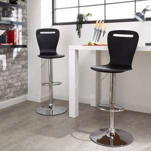 Long Island Black Wooden Gas-lift Bar Stools In Pair