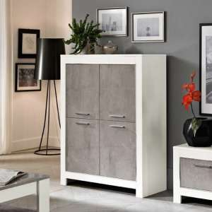 Lorenz Modern Bar Unit In Marble And White High Gloss