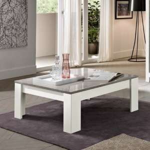 Lorenz Coffee Table Square In Marble And White High Gloss