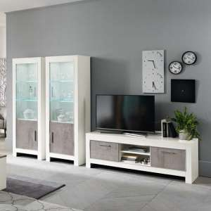 Lorenz Living Room Set In Marble And White High Gloss With LED