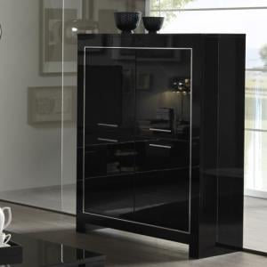 Lorenz Modern Bar Unit In Black High Gloss With 4 Doors