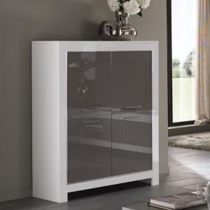 Lorenz Modern Bar Unit In White And Grey High Gloss With 4 Doors