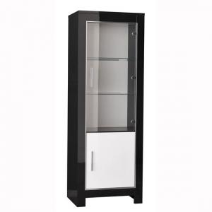 Lorenz Glass Display Cabinet In Black And White Gloss With LED