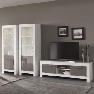 Lorenz Living Room Set In White And Grey High Gloss And LED