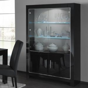 Lorenz Wide Glass Display Cabinet In Black High Gloss With LED