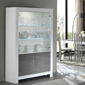 Lorenz Display Cabinet In White And Grey High Gloss With LED