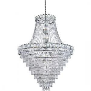 Louis Philipe Chandelier Light In Chrome With Crystal Beads