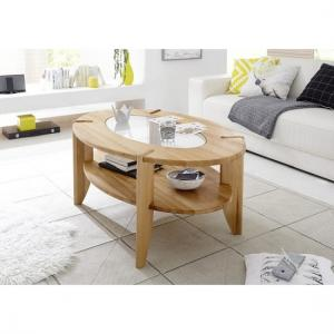 Louisa Wooden Coffee Table In Core Beech With Glass Top Inserts