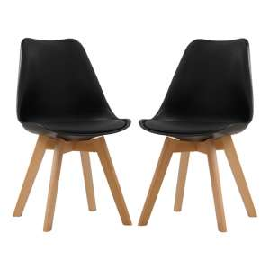 Louvre Black Finish Dining Chairs In Pair