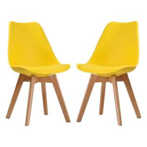 Louvre Yellow Finish Dining Chairs In Pair