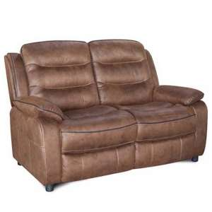 Lovell Contemporary Fabric 2 Seater Sofa In Brown