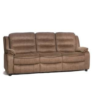 Lovell Contemporary Fabric 3 Seater Sofa In Brown