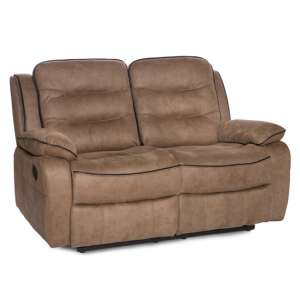 Lovell Fabric Recliner 2 Seater Sofa In Caramel