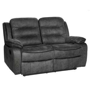 Lovell Fabric Recliner 2 Seater Sofa In Grey
