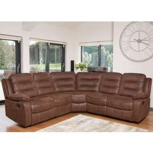 Lovell Fabric Upholstered Corner Sofa In Brown