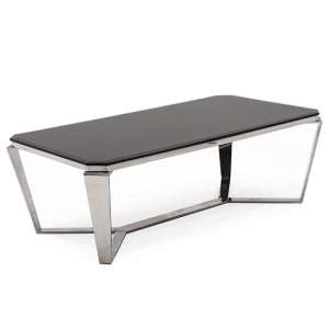Lucerne Glass Coffee Table In Black With Stainless Steel Base