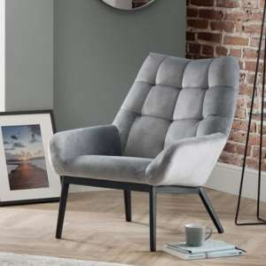 Lucerne Velvet Lounge Chaise Chair In Grey