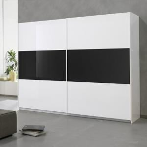 Luciano Sliding Wardrobe Extra Large In White And Black Gloss