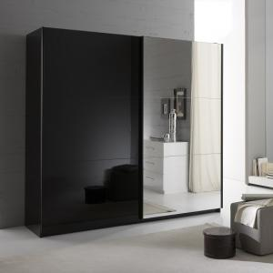 Luciano Mirrored Sliding Wardrobe Large In Black High Gloss