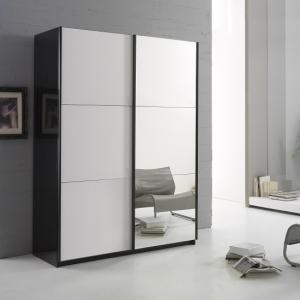 Luciano Mirrored Sliding Wardrobe In Black And White High Gloss