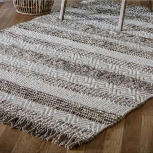 Ludina Wool Fabric Rug In Ivory