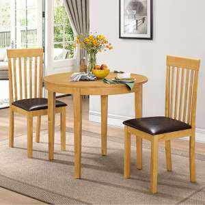 Lunar Wooden Dining Set In Natural With 2 Chairs