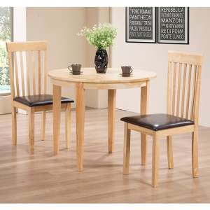 Lunar Wooden Dining Set In Oak With 2 Chairs