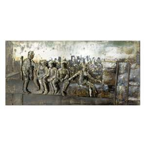 Lunch Breaker Picture Metal Wall Art In Beige
