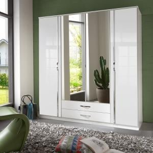 Luton Mirror Wardrobe In High Gloss White With 4 Doors