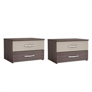 Luxor Bedside Cabinet In Vulcano Oak And Basalt In A Pair