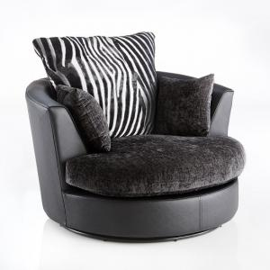 Luxor Swivel Sofa Chair In Black PU And Grey Fabric