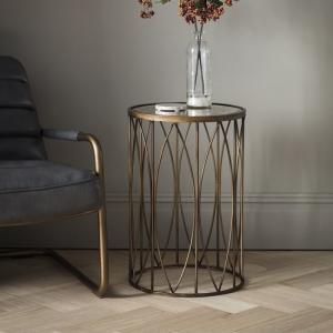 Lyndon Round Mirrored Glass Side Table With Metal Frame
