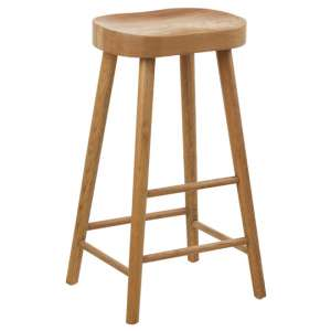 Gomeisa Oak Wood Bar Stool With Wooden Base