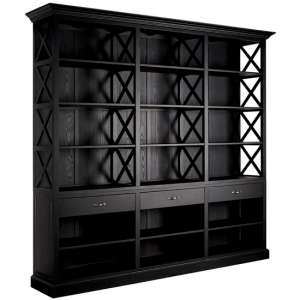 Lyox Large Wooden 3 Drawers Bookcase In Black