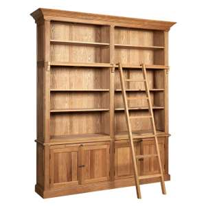Lyox Wooden 2 Sections Bookcase With Ladder In Natural