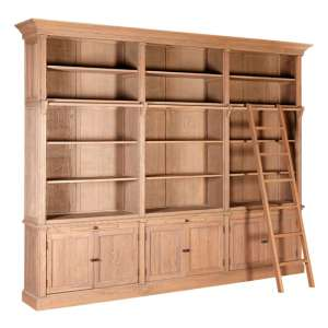Lyox Wooden 3 Sections Bookcase With Ladder In Natural