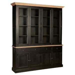 Lyox Wooden 8 Doors 4 Drawers Display Cabinet In Black